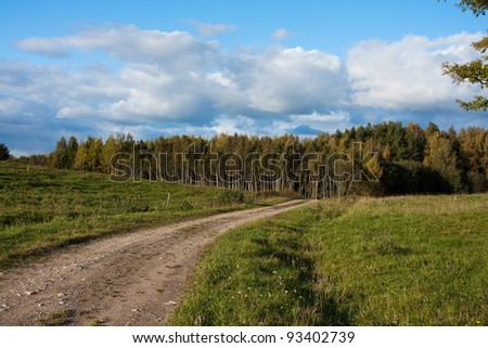 Lane in meadow and deep blue - stock photo