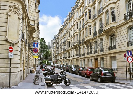 Lane in the center of Paris. France - stock photo