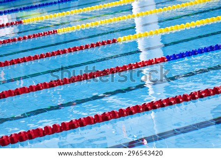 Lane markers in a standard swimming pool - stock photo
