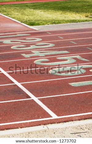 Lane markings at a college running track.