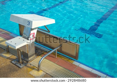 Lane swimming number one. at the source pool. - stock photo