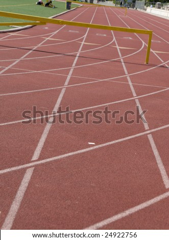 Lanes and hurdles on a track field