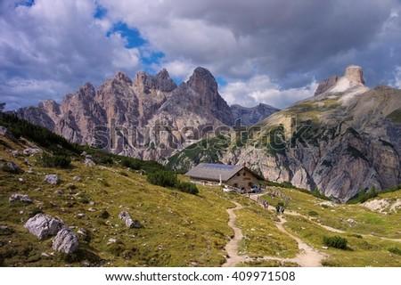 Lange Alm Alpine club hut in Dolomites, Italy - stock photo
