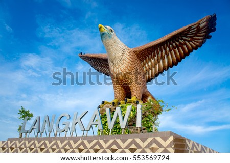 LANGKAWI - JULY 12: Statue at Eagle Square on July 19, 2012 in Langkawi, Malaysia.