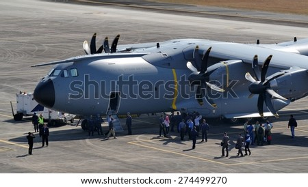 LANGKAWI, MALAYSIA - MARCH 16: Airbus A400M (M54-01 TUDM) during The Langkawi International Maritime & Aerospace Exhibition (LIMA 2015) at Langkawi Malaysia on 16 March, 2015  - stock photo