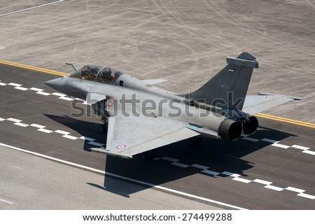 LANGKAWI, MALAYSIA - MARCH 16: Dassault Rafale Aircraft display in LIMA 2015 at Langkawi Malaysia on 16 March, 2015 - stock photo