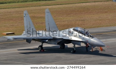 LANGKAWI, MALAYSIA - MARCH 16: Sukhoi SU-30 Aircraft from Royal Malaysian Air Force display in LIMA 2015 at Langkawi Malaysia on 16 March, 2015 - stock photo