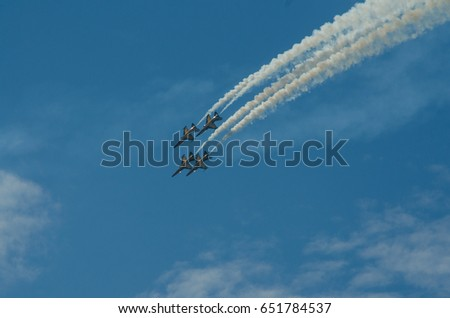 Langkawi , Malaysia , March 25, 2017 : The Korean Black Eagles Aerobatic team doing an air show and demonstration at the Langkawi International Maritime & Aerospace (LIMA) .