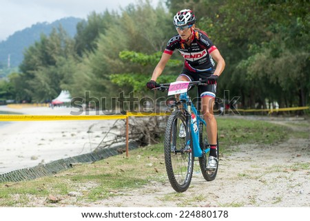 LANGKAWI, MALAYSIA - 18 OCTOBER 2014:  Blaza Klemencic  of Slovenia National Team in action at Tradewinds LIMBC 2014 on October 18, 2014.  - stock photo