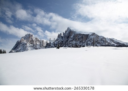 Langkofel and Plattkofel / Langkofel and Plattkofel in winter in South Tyrol, Italy - stock photo