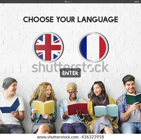 Language Dictionary English French Concept - stock photo