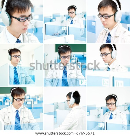 Language lab, a man wearing headphones. - stock photo