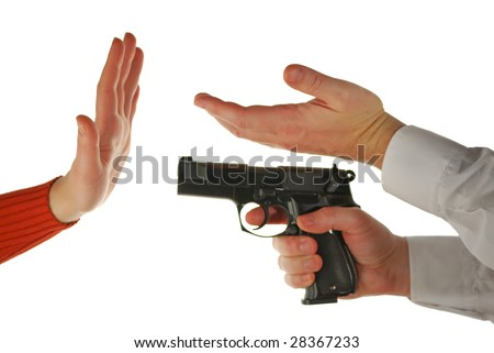 "language of fingers: female hand - ""refuse"", male hand - ""invitation"", male hand with a pistol - ""threat"""