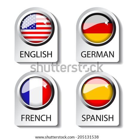 language pointer for web, english, german, french, spanish