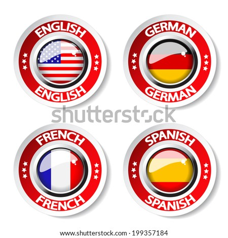 language pointer for web - german, english, french and spanish buttons