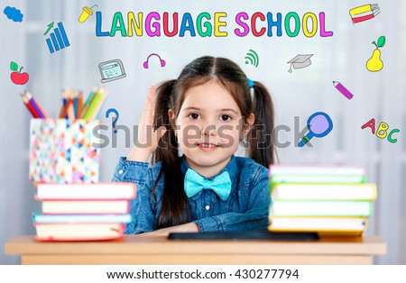 Language school concept with schoolgirl