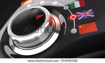 Language selector button with flags. Conceptual 3D render image with depth of field blur effect. Concept suitable for translation or online translator - stock photo