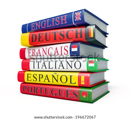 Language study concept background - stack of dictionaries isolated on white background