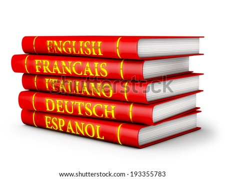 language textbooks in red on a white background