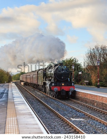 LANGWATHBY, ENGLAND - OCTOBER 4:  Preserved steam locomotive, Scots Guardsman, heads The Lune Rivers Trust Special through Langwathby station on October 4, 2014, on the Settle to Carlisle railway.