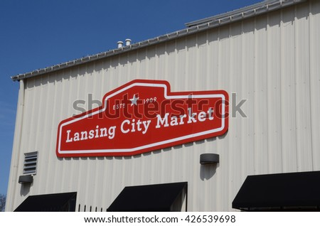 LANSING, MI - MARCH 26:  The Lansing City Market, whose sign is shown here on March 26, 2016, was established in 1909.  - stock photo