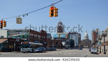 LANSING, MI - MARCH 27:  The Michigan State Capitol, shown here on March 27, 2016, is one of the landmarks of downtown Lansing, MI.  - stock photo