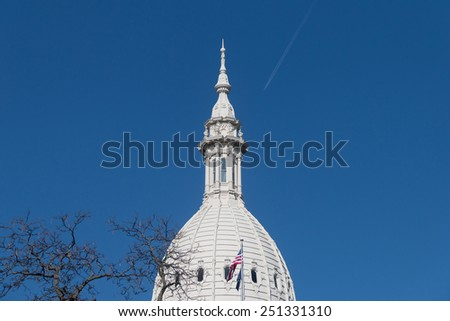 Lansing Michigan Capitol Building on a clear sunny day  - stock photo