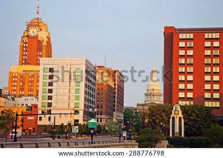 Lansing, Michigan city at sunrise - stock photo