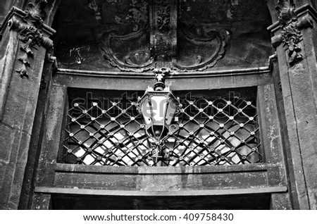 lantern above the entrance to Dominican church in Lviv, Ukraine
