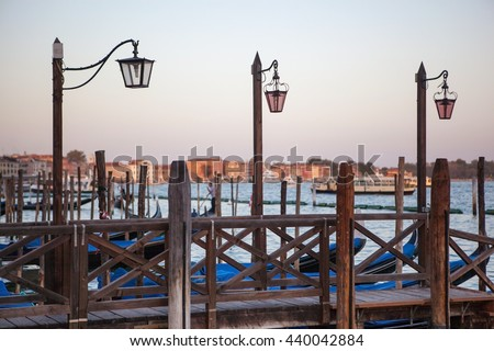 lantern at Canal Grande in Venice - stock photo