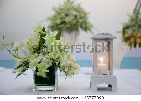 Lantern at wedding reception.