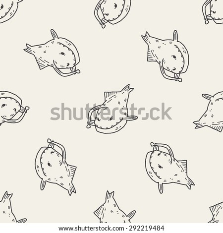 Lantern fish doodle seamless pattern background