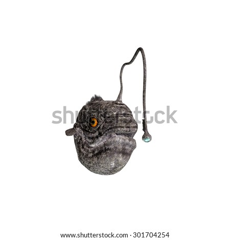 lantern fish isolated on white background - stock photo
