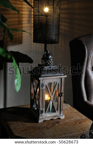 lantern in the table of atmospheric living room