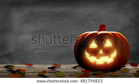 Lantern into a halloween pumpkin with leaves on a wooden table and a blackboard. 3D Rendering