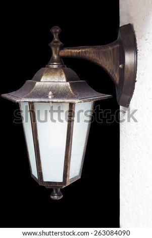 lantern Isolated on black - stock photo