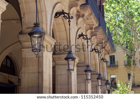 Lantern near Plaza Real on August in Barcelona - stock photo