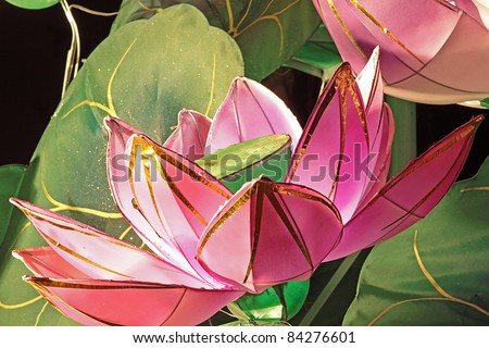 lantern of lotus blossom bunch in a festival - stock photo