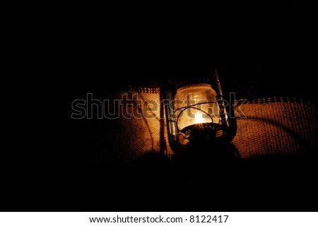 Lantern On Canvas Background - stock photo