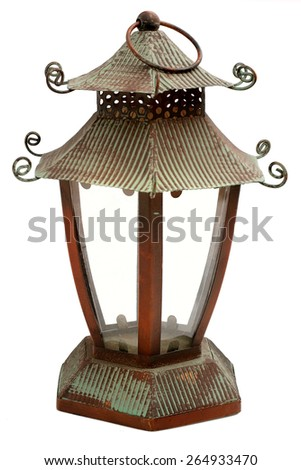 lantern on white - stock photo