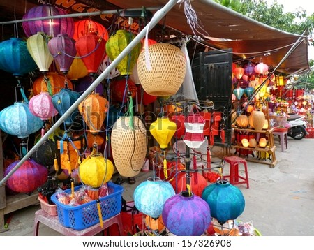 Lantern Shops in Hoi An, Vietnam - stock photo