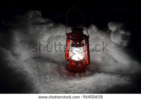 lantern snow - stock photo