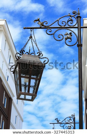 lantern street on blue sky background