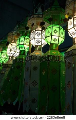 lantern, thai lantern, lanna lantern in night time - stock photo