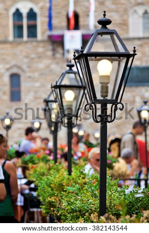 Lanterns in Florence, Toscana province, Italy. - stock photo