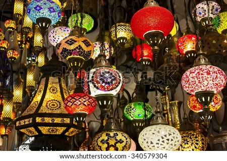 Lanterns in Grand Bazaar. Istanbul, Turkey - stock photo