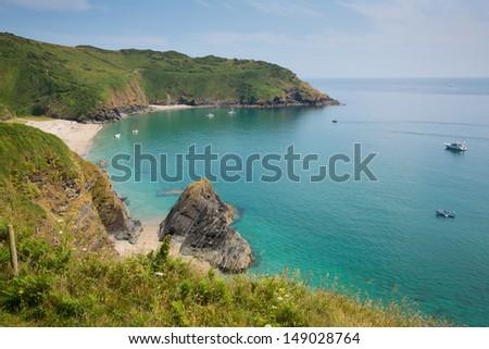 Lantic Bay beach Cornwall England near Fowey and Polruan on a beautiful summer day blue sky and sea - stock photo