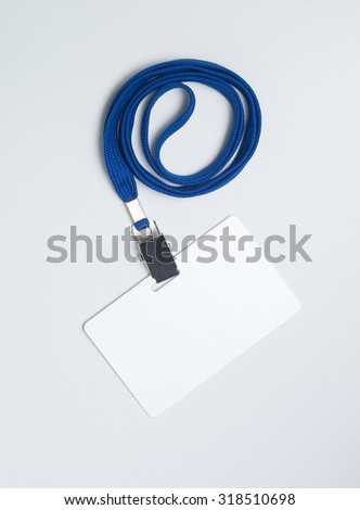 Lanyard and badge. Conference badge. Blank badge template on plastic card with blue strap. - stock photo