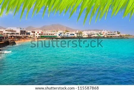 Lanzarote Playa Blanca beach in Atlantic Canary Islands - stock photo