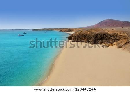 Lanzarote Playa del Pozo beach in costa Papagayo Canary Islands - stock photo
